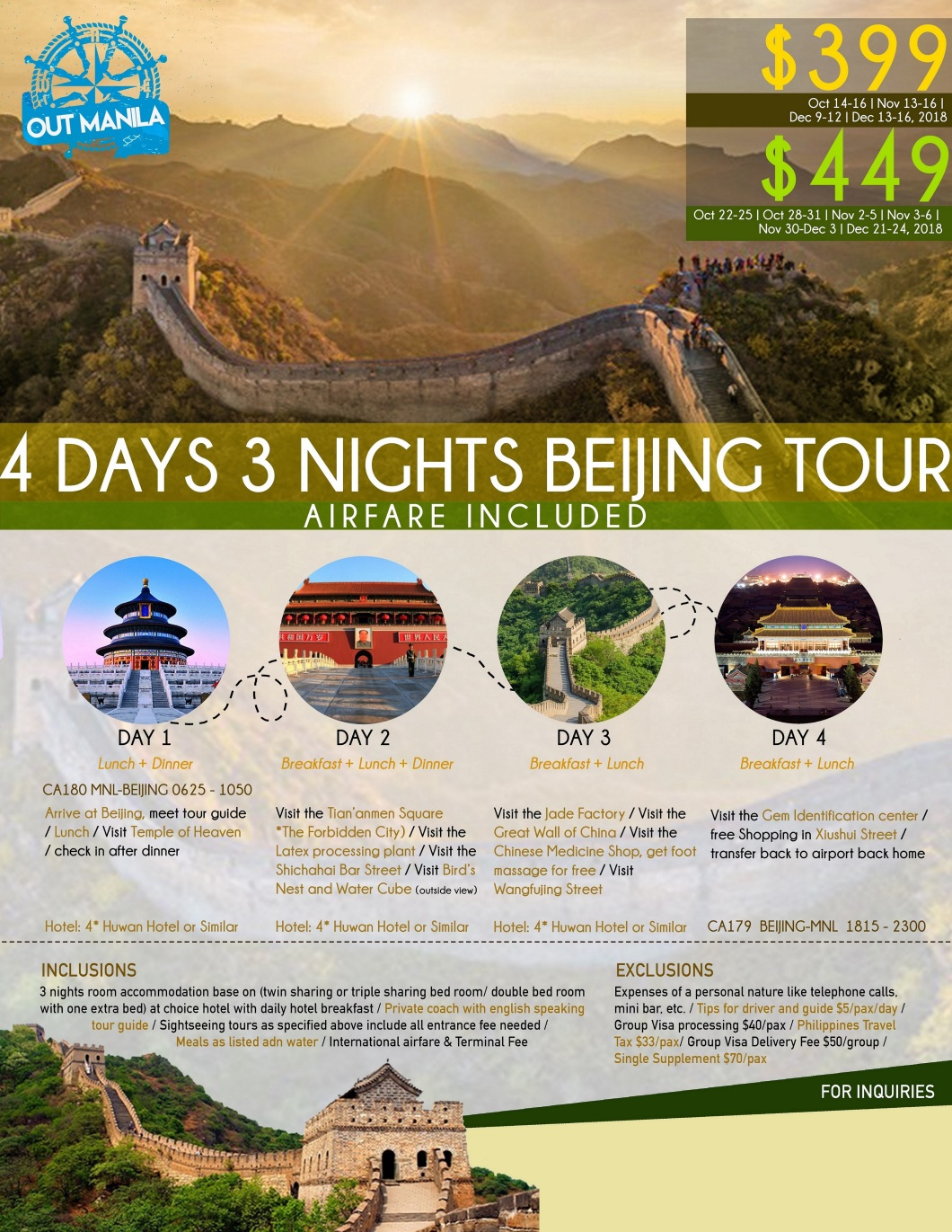 Beijing Tour Package from Philippines