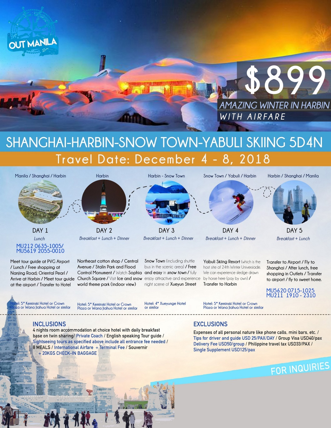 Shanghai - Harbin Snow Tour Package from Philippines