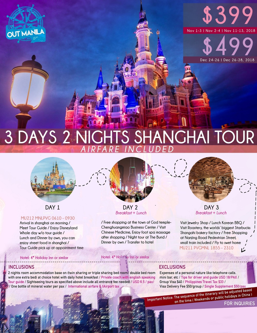 Shanghai China Tour 2 Package from Philippines