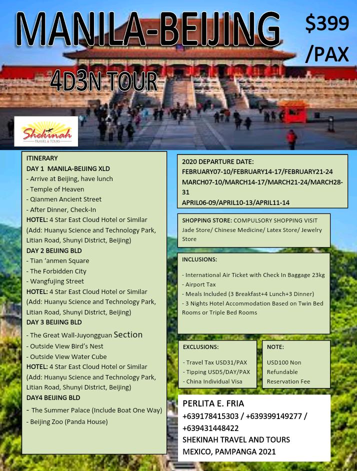 Manila to Beijing China Tour